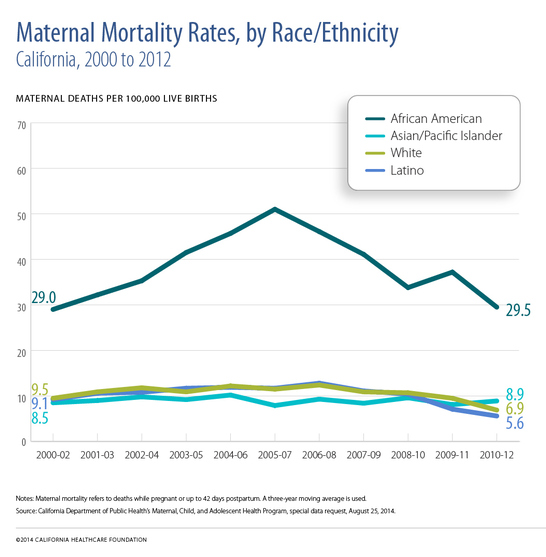 "A chart titled ""Maternal Mortality Rates by Race/Ethnicity."""