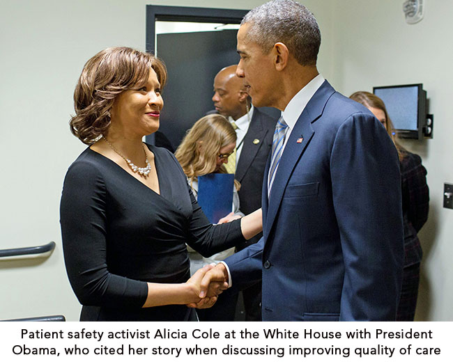 Patient safety activist Alicia Cole with President Obama