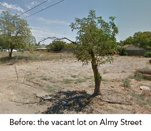 The vacant lot on Almy Street before it was converted into a park and playground