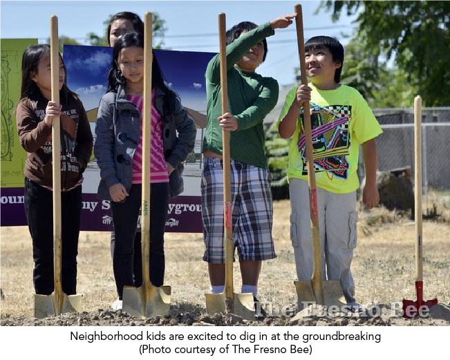 Neighborhood kids are excited to dig in at the groundbreaking (Photo courtesy of The Fresno Bee)