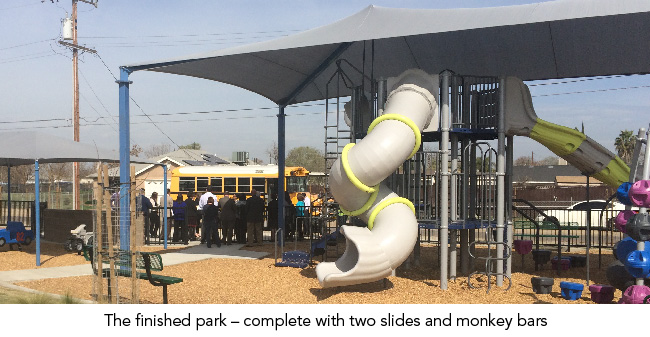The finished park – complete with two slides and monkey bars