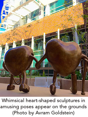 Whimsical heart-shaped sculptures in amusing poses appear on the grounds (Photo by Avram Goldstein)