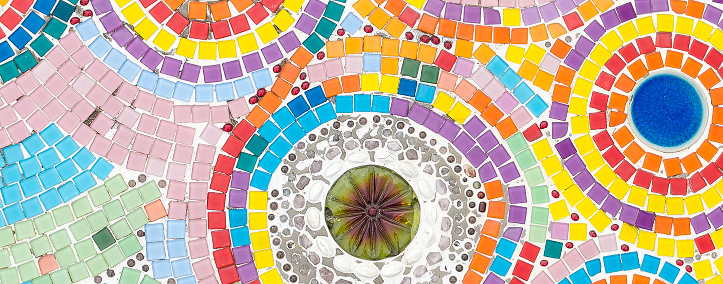 Bright pastel mosaic tiles in concentric circles