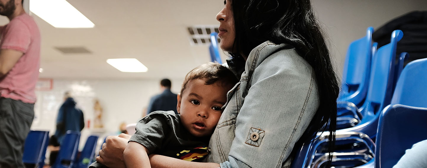 Mother and son at Texas immigrant detention center.