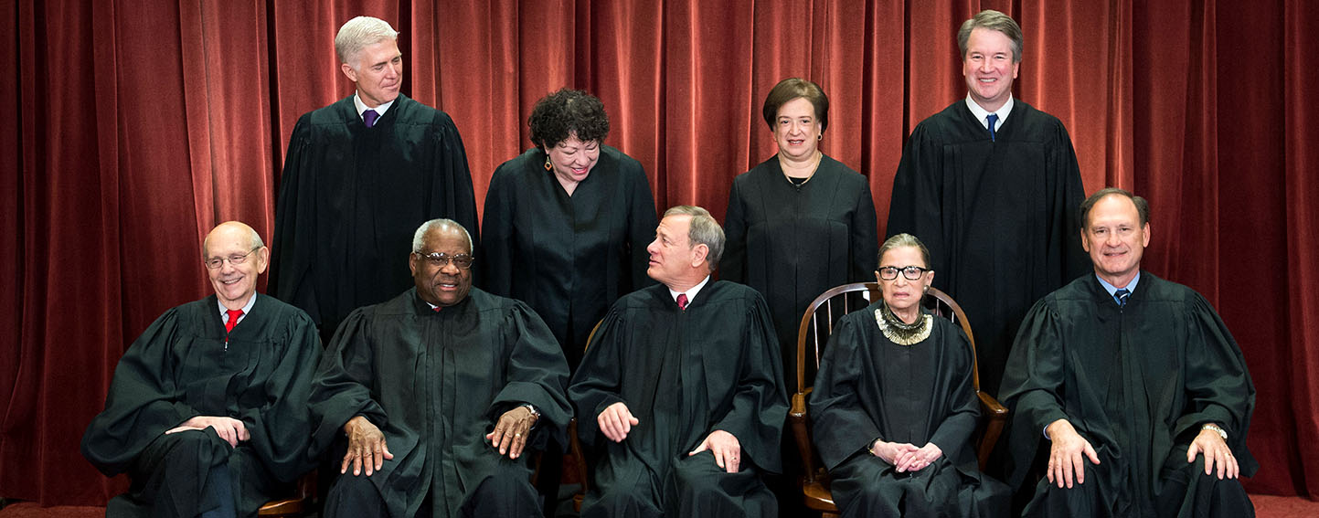 The Supreme Court Justices pose for their official group portrait in the Supreme Court on November 30, 2018 in Washington, D.C. Seated from left: Associate Justice Stephen Breyer, Associate Justice Clarence Thomas, Chief Justice John G. Roberts, Associate Justice Ruth Bader Ginsburg and Associate Justice Samuel Alito, Jr. Standing behind from left: Associate Justice Neil Gorsuch, Associate Justice Sonia Sotomayor, Associate Justice Elena Kagan and Associate Justice Brett M. Kavanaugh.