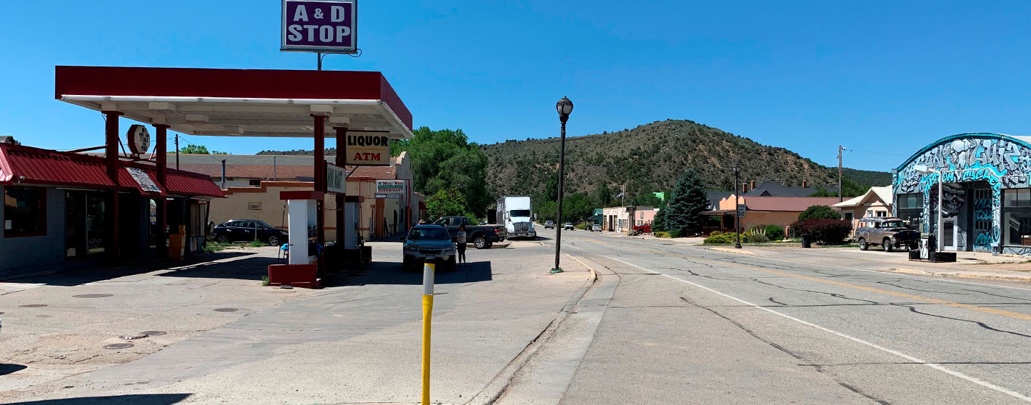 Empty Main Street in San Luis, Colorado