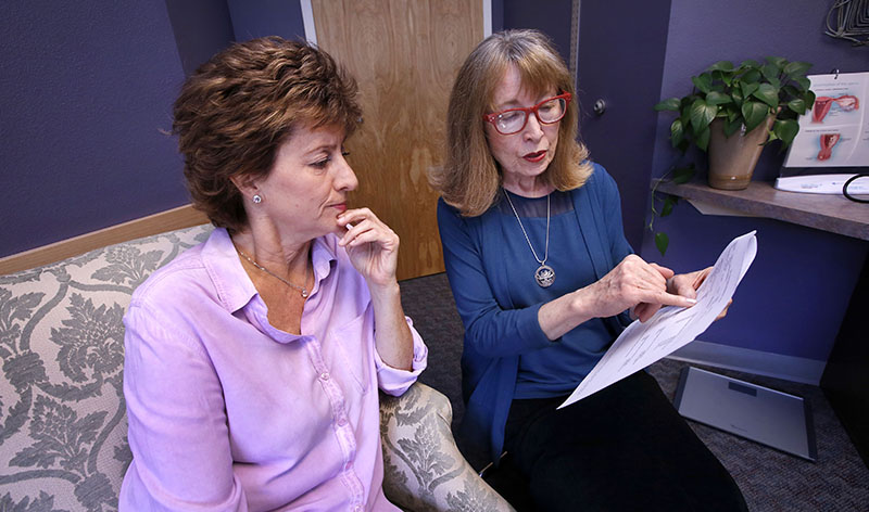 Patient Kim Dinallo consults with Nurse Practitioner Karen Zink, at a clinic in Durango, Colorado. Photo: Jerry McBride