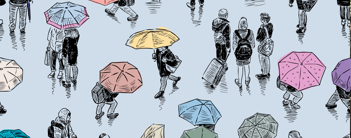 Illustration of people walking in the rain, some with umbrellas and some without.