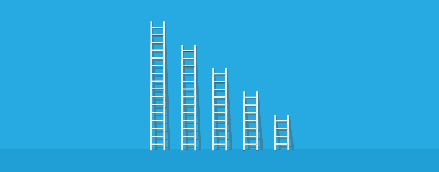 Illustration of five ladders, arranged tallest to shortest, leaning against a blue wall.