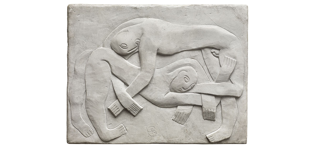 Plaster frieze of two wrestlers by artist, Henri Gaudier-Brzeska, 1914.