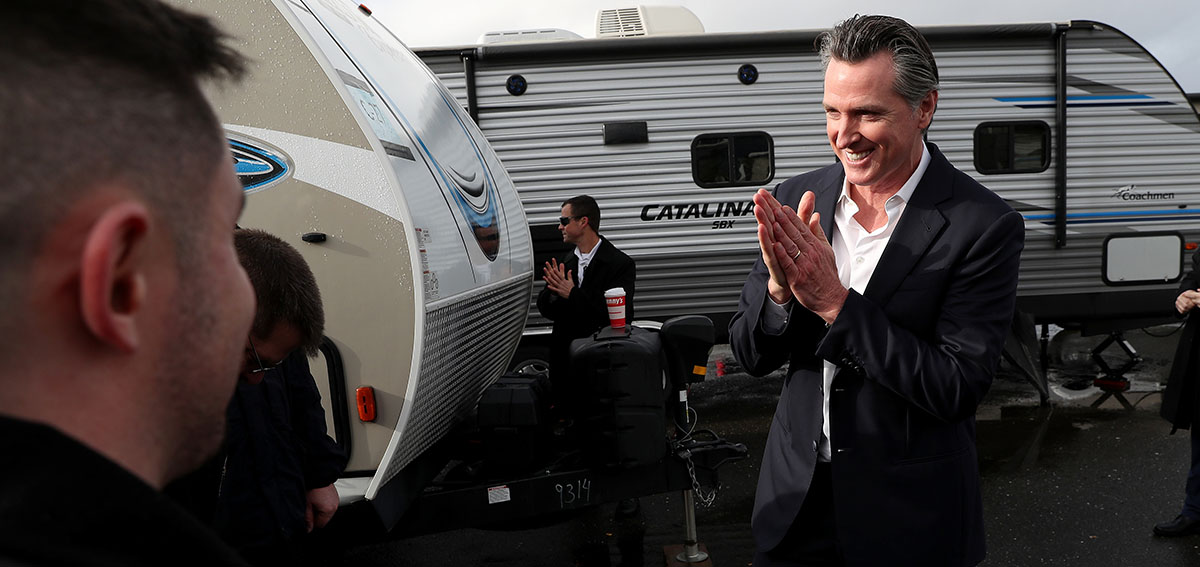 Governor Newsom looks at FEMA trailers that will be used as temporary housing for people experiencing homelessness in California