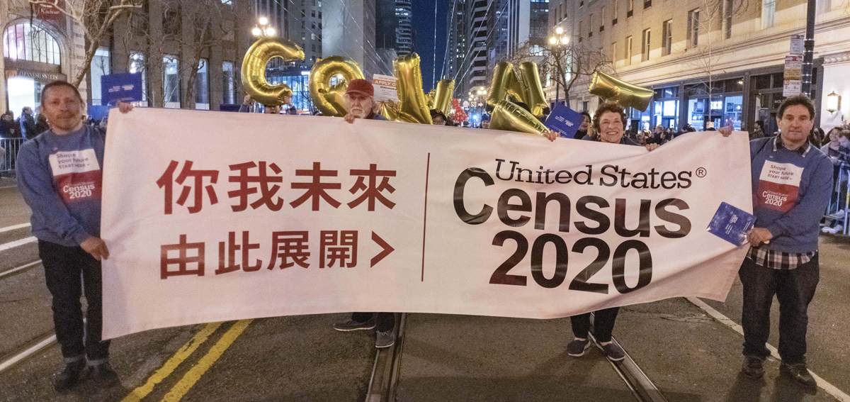 Census 2020 supporters on parade in San Francisco's Chinese new year parade