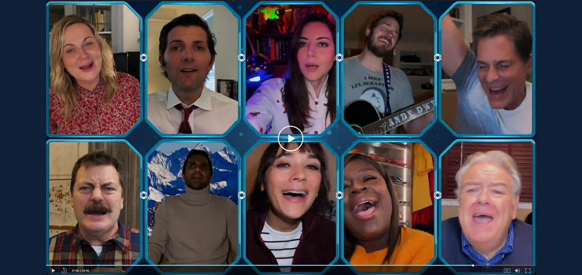 Actors from Parks and Recreation participate in a COVID-19 themed episode