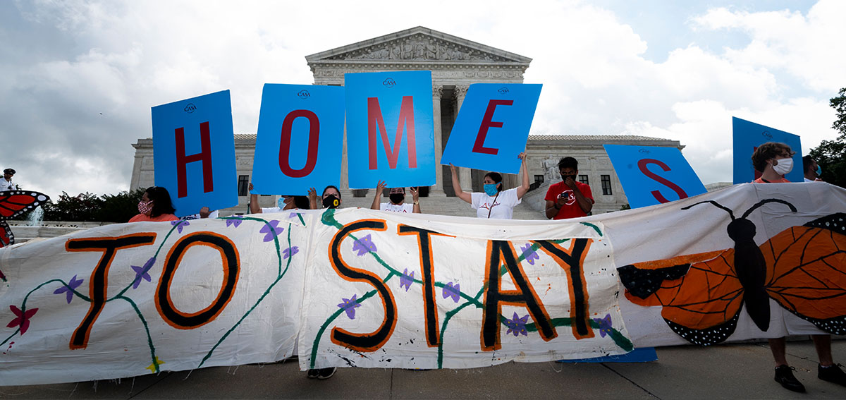 Dreamers and DACA supporters rally outside of the U.S. Supreme Court on Thursday, June 18, 2020