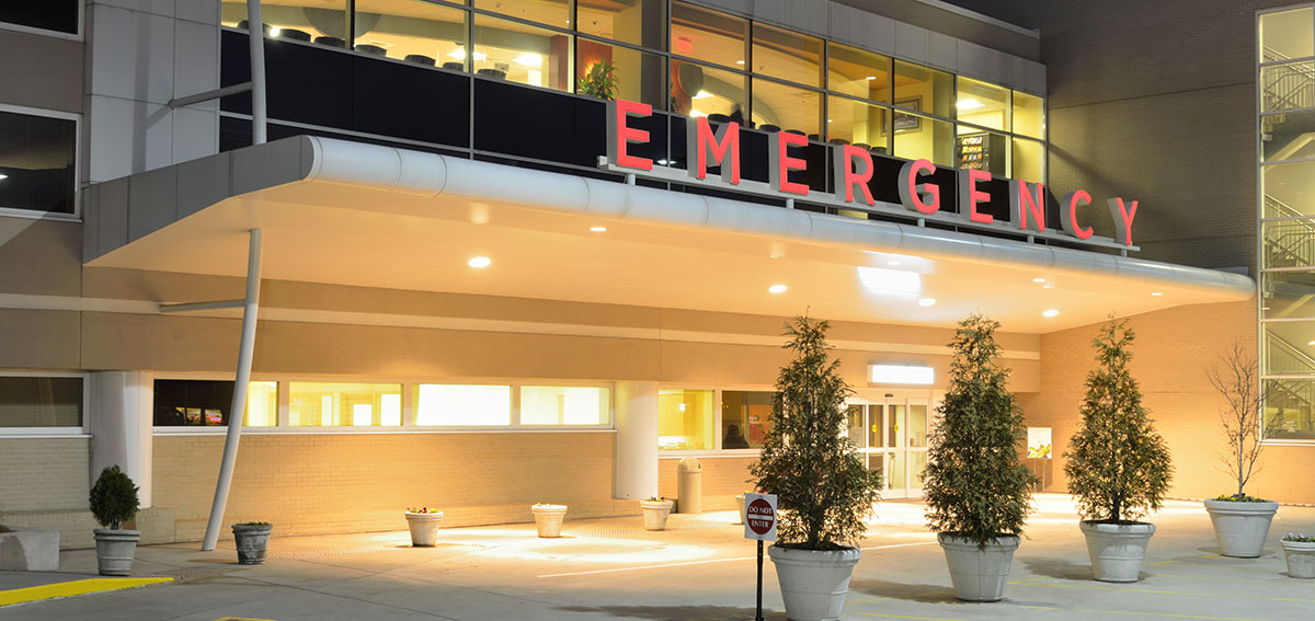 Exterior of an emergency room at night