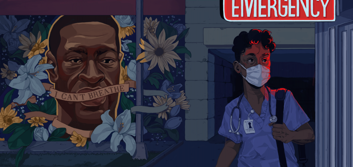 Illustration of Black health care worker exiting an emergency department whose entrance is decorated with a mural of George Floyd