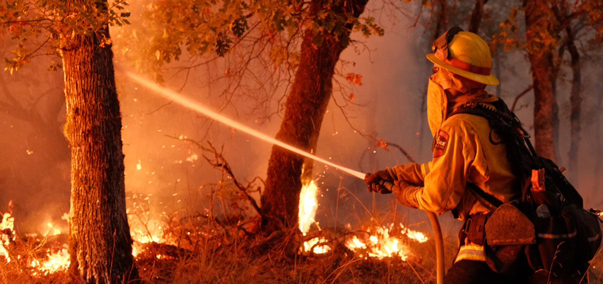 A firefighter crew from Humboldt County battles a fierce wildfire in Napa County