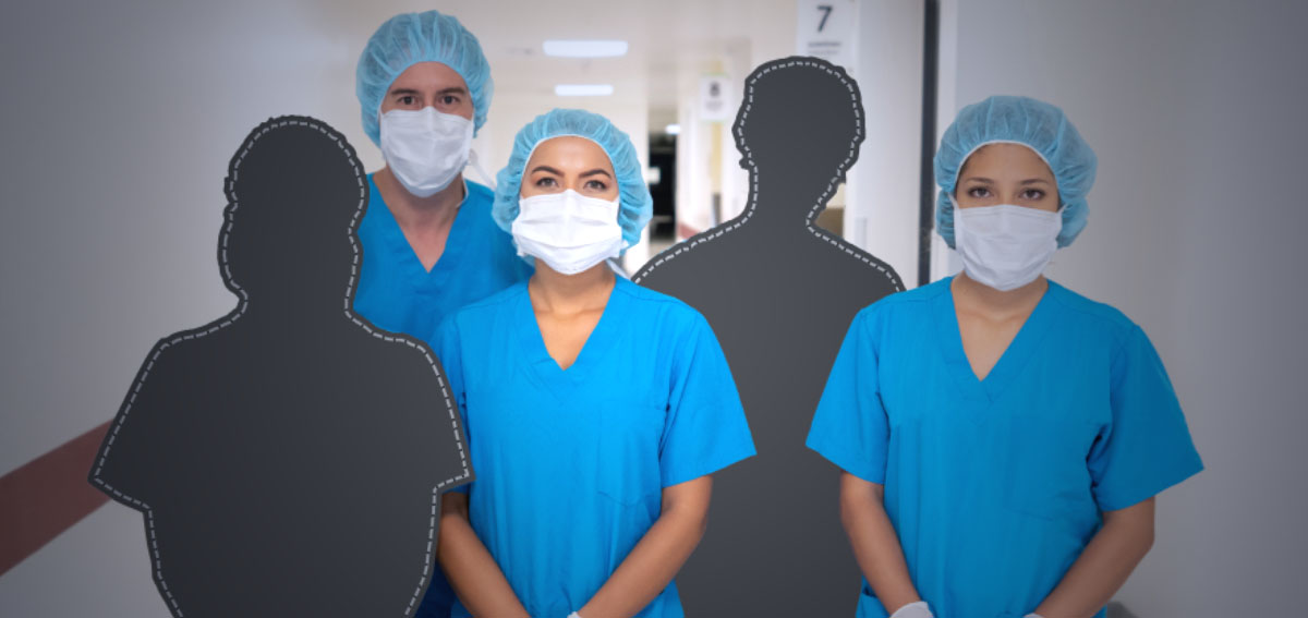 Photo illustration of health care workers with colleagues missing, only silhouettes showing