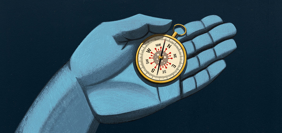 illustration of blue hand holding compass with COVID-19 virus on the dial