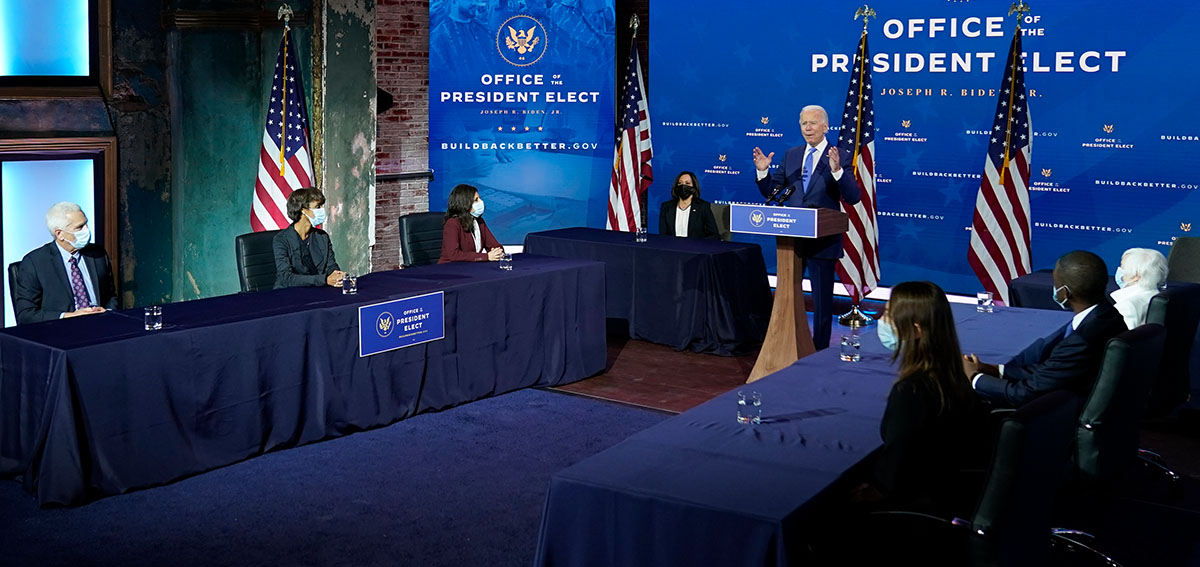 President-elect Joe Biden speaks during an event to introduce nominees and appointees to economic policy posts