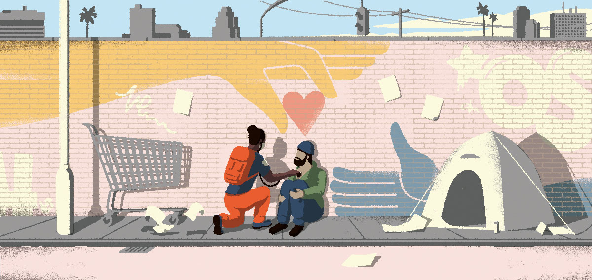 "Illustration of doctor treating a person experiencing homelessness in the field. Also called ""backpack medicine"""
