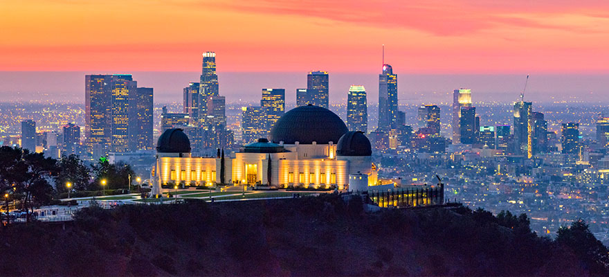 Griffith Observatory and Los Angeles skyline at dusk