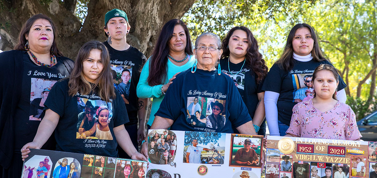 The family of Virgil Yazzie, who died of COVID-19, gather to remember him.