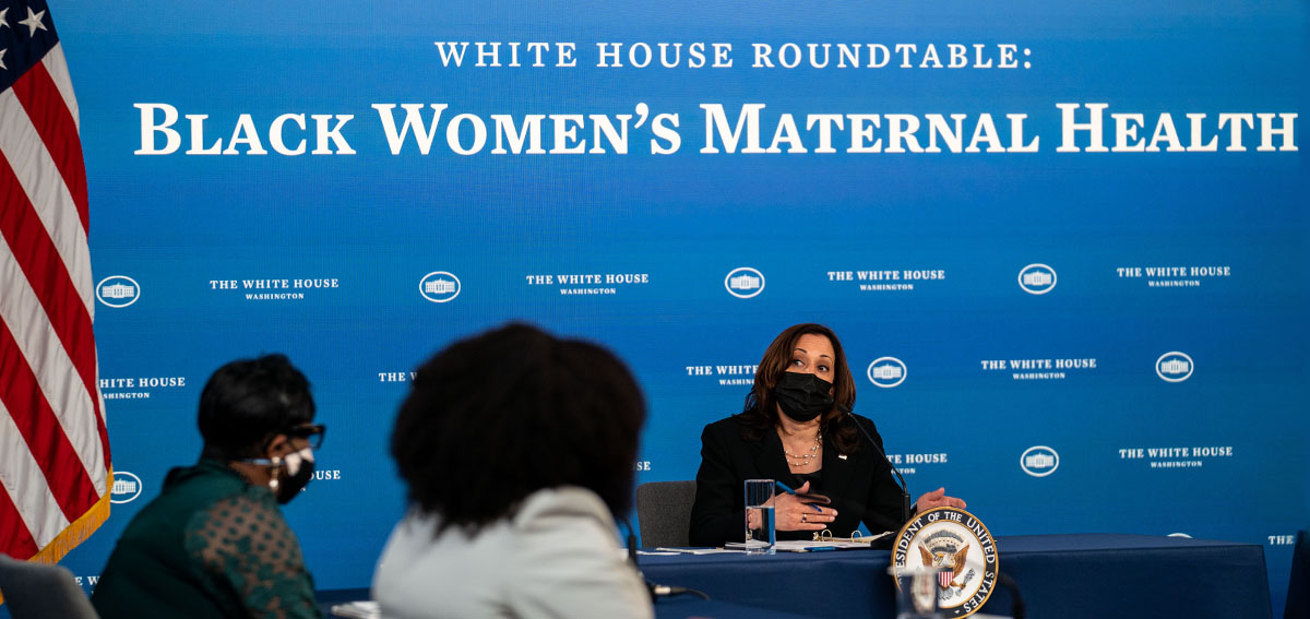 Vice President Kamala Harris participates in a roundtable discussion on Black Women's Maternal Health