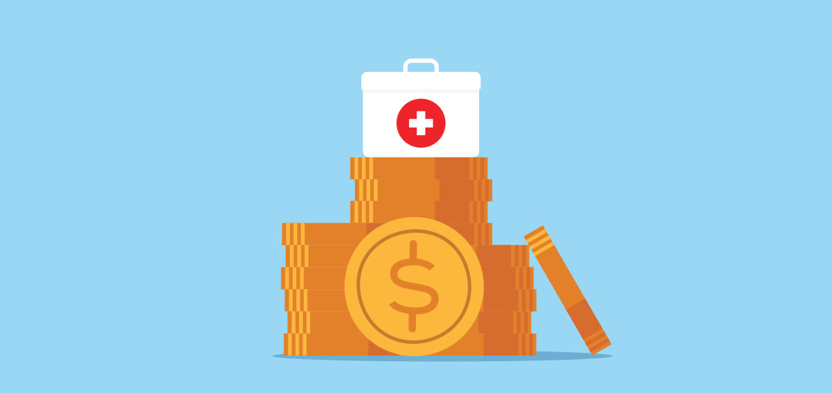 Illustration of medical first aid kit sitting on a pile of coins