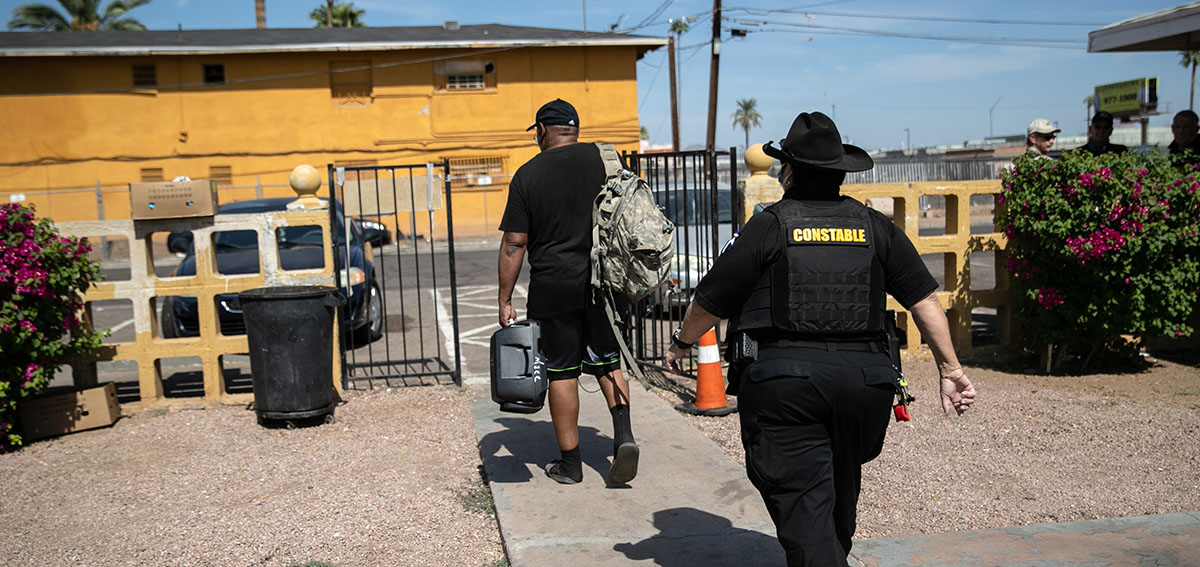 Constable evicts a tenant on October 7, 2020 in Phoenix, Arizona.
