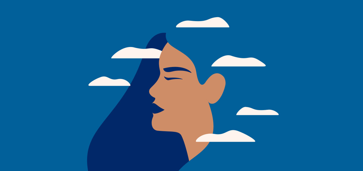 Illustration of a woman's profile in the clouds.