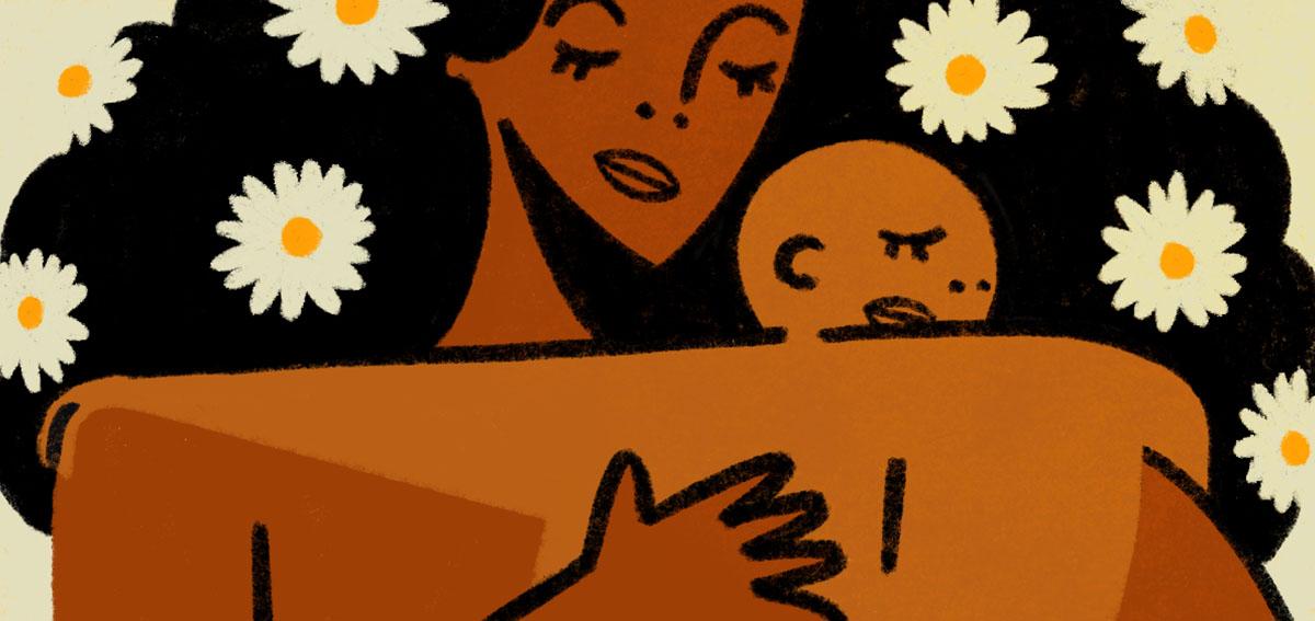 Illustration of Black woman holding her newborn baby