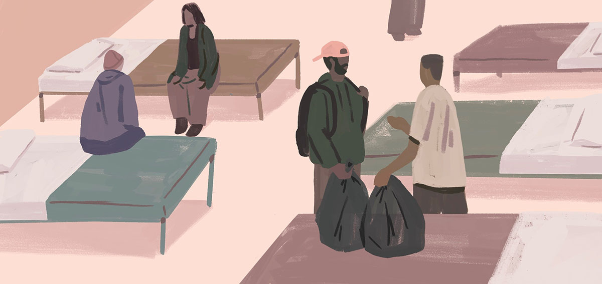 Illustration of people sitting on beds in a medical respite care center