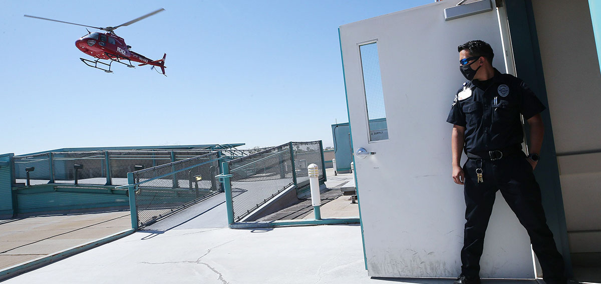 A helicopter ambulance transports a patient from El Centro Regional Medical Center