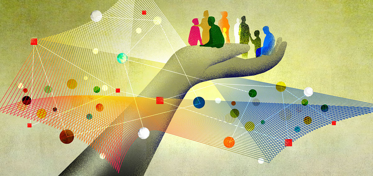 illustration of hand lifting people through a network