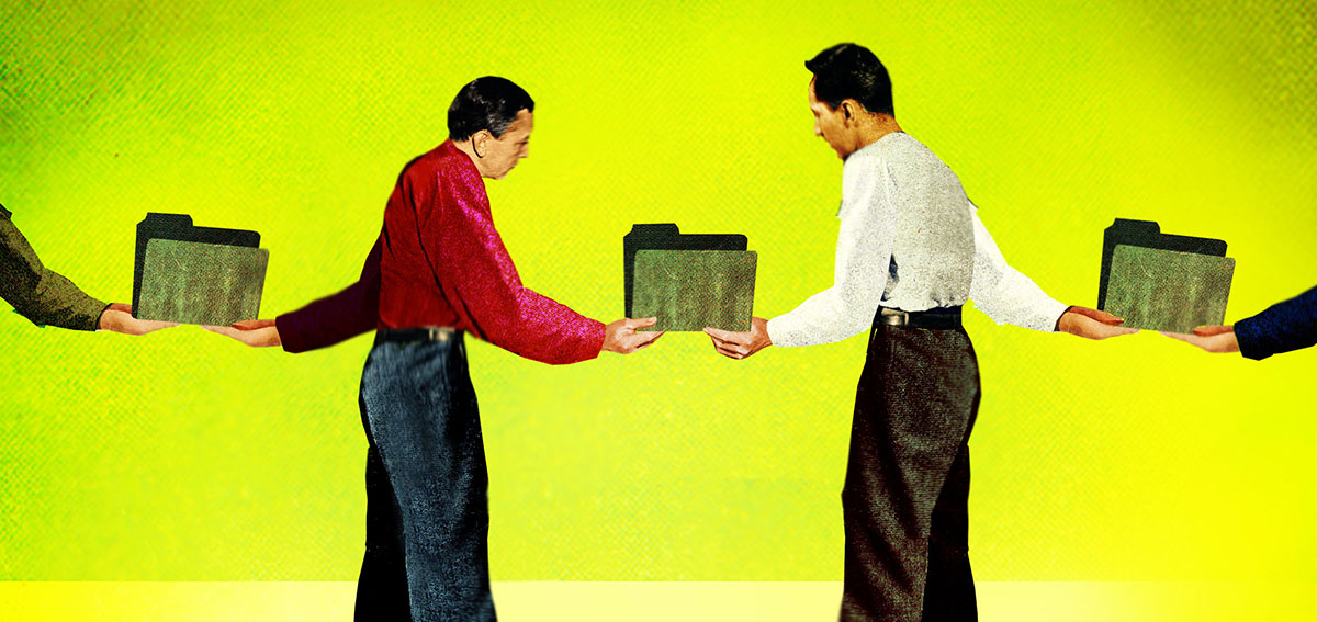 Illustration men passing paper folders from hand to hand