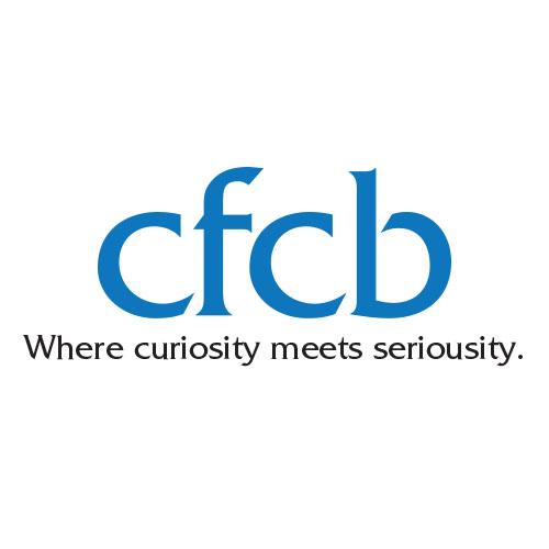 "CFCB logo. Tagline ""Where curiosity meets seriousity."""