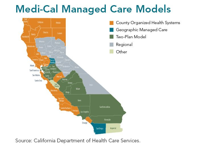 California map showing models of Medi-Cal managed care, county