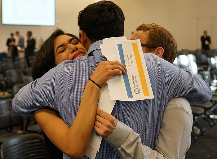 UCLA medical students congratulate a classmate on her match.