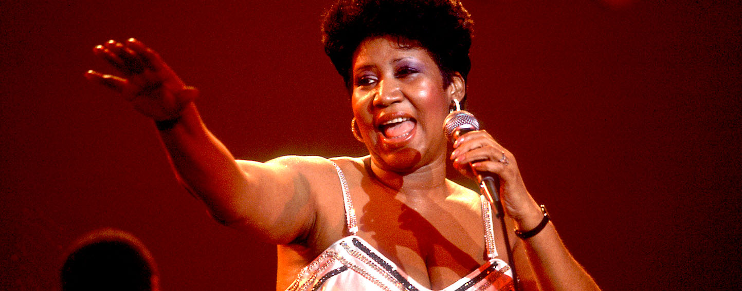 Aretha Franklin At Park West American musician Aretha Franklin performs on stage at the Park West Auditorium, Chicago, Illinois, March 23, 1992. (Photo by Paul Natkin/Getty Images)