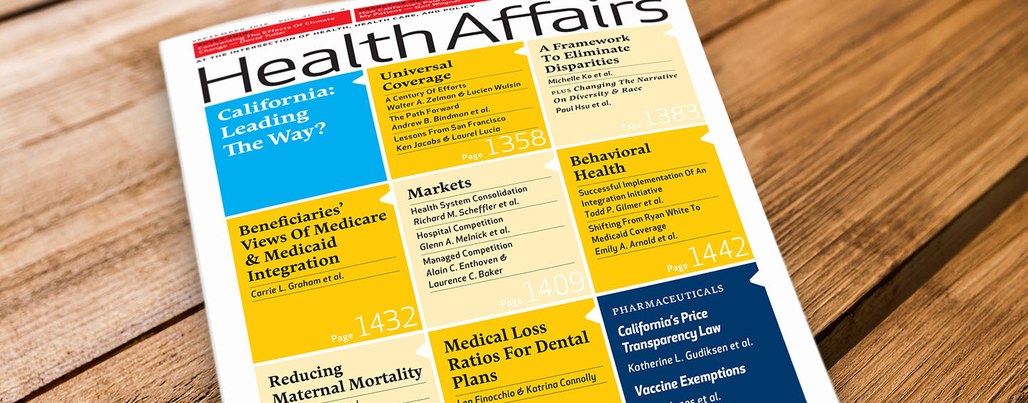 Cover of Health Affairs Magazine, September 2018