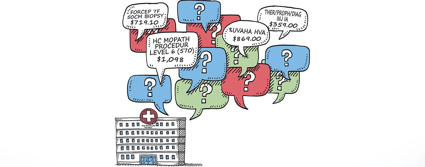 illustration of hospital and billing codes