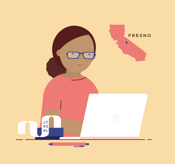 An illustration of Carmen, who buys insurance on the individual market. She is 44, lives in Fresno, and is a freelance bookkeeper.