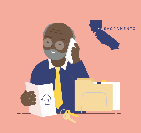 An illustration of Sam, who buys insurance on the individual market. He is 62, lives in Sacramento, and is a real estate agent.